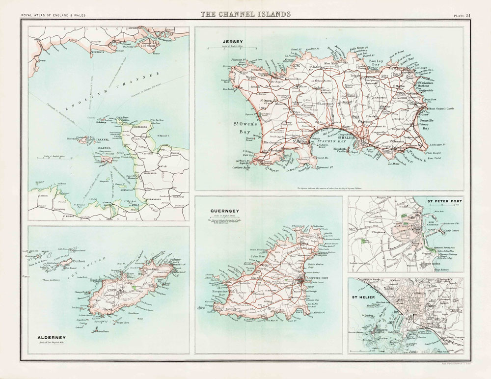 an old map of the channel islands jersey guernsey and alderney in 1900 as an instant download