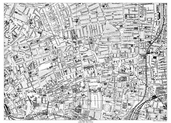 Old Street London Map.Old Map Of St Lukes Old Street London In 1888