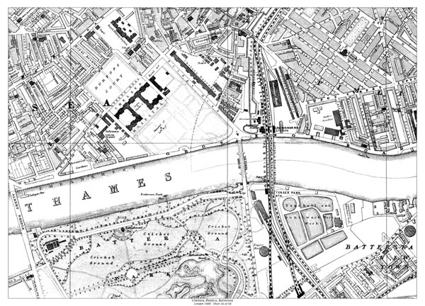 Pimlico London Map.Old Map Of Chelsea Pimlico Battersea North London In 1888