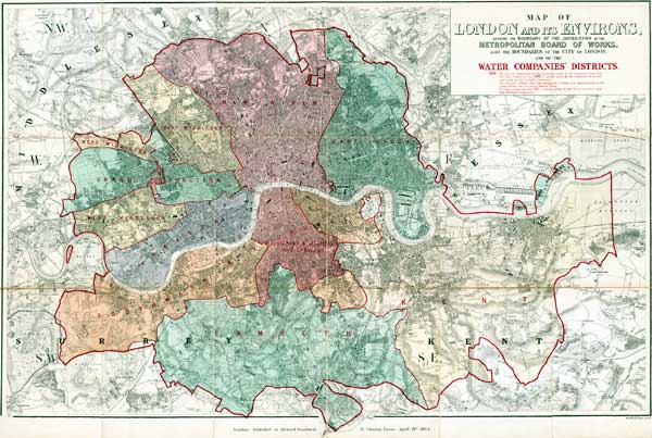 Old Map Of London Water Companies In - The old map company