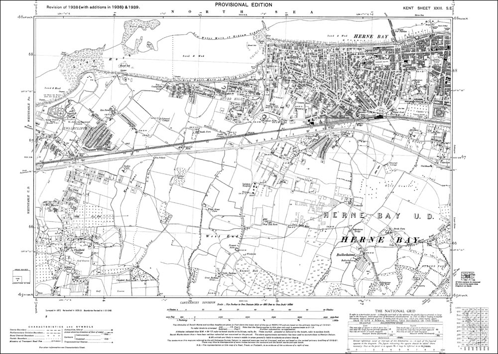 Old map of Herne Bay west and Whitstable Swalecliffe in 1939
