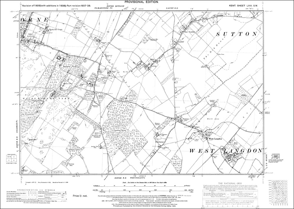 Ashley OS Kent 58-SW-1938 old map repro West Langdon Eythorne Green