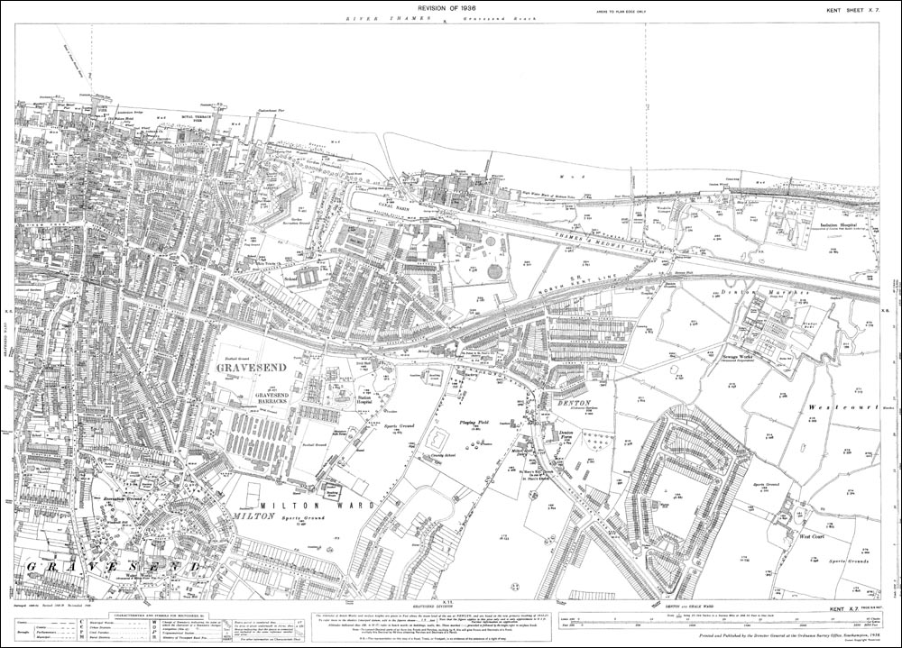 Old Map Of Gravesend East In 1936