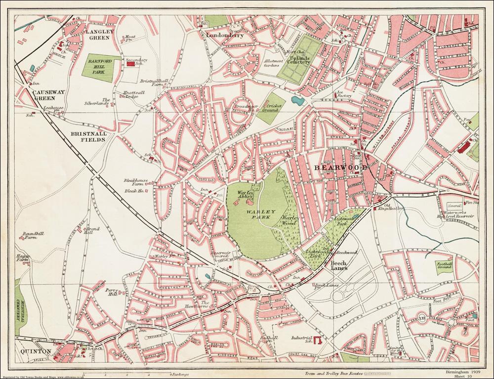 Old vintage Bearwood area Birmingham 1939 Series Map 10 of 24 eBay