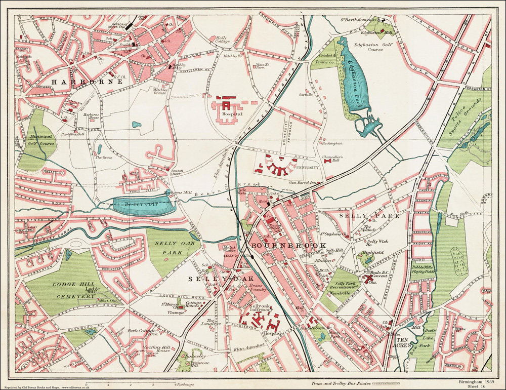 An old map of the Sellyoak area Birmingham in 1939 as an instant download an