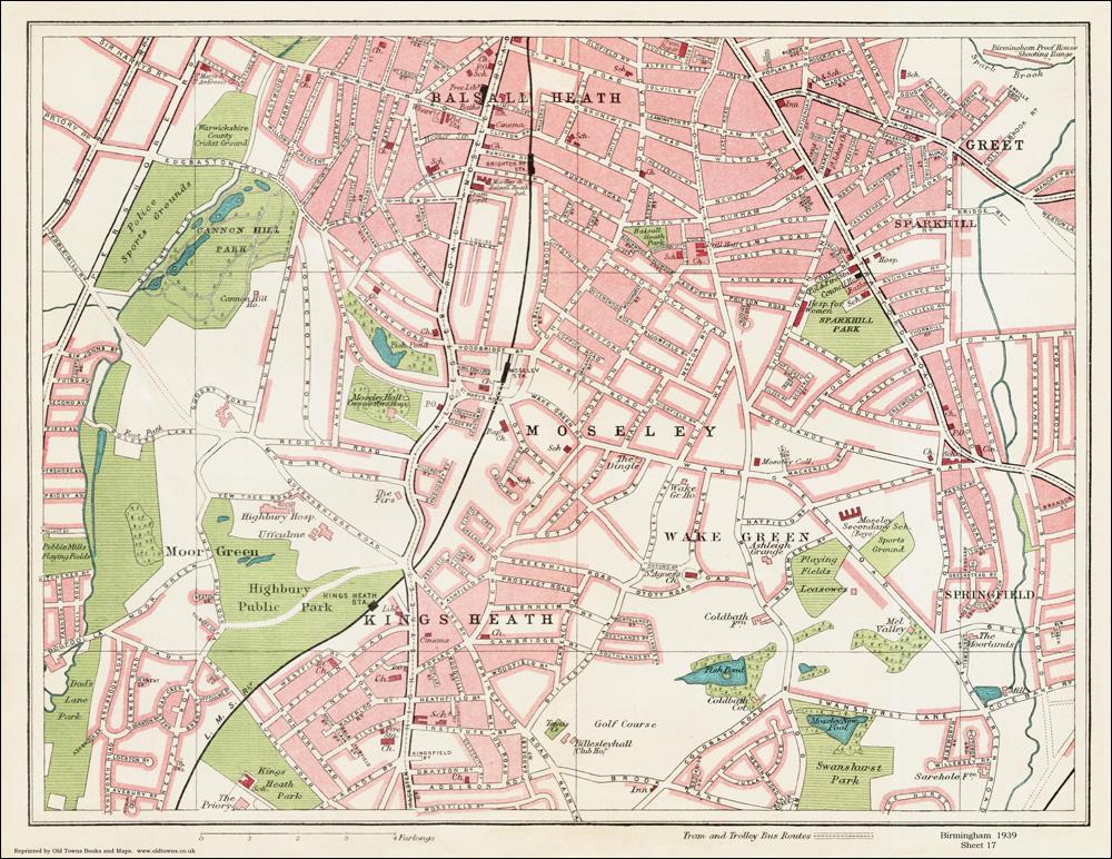 Moseley Area  Birmingham 1939 Series Map 17 Of 24