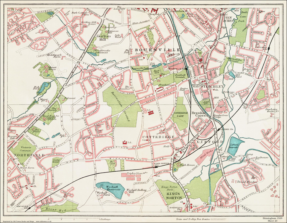 An old map of the Bournville area Birmingham in 1939 as an instant download