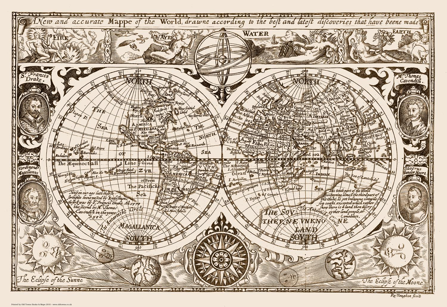 World Map 1628 reproduction old vintage 83x57cm 32x22ins eBay