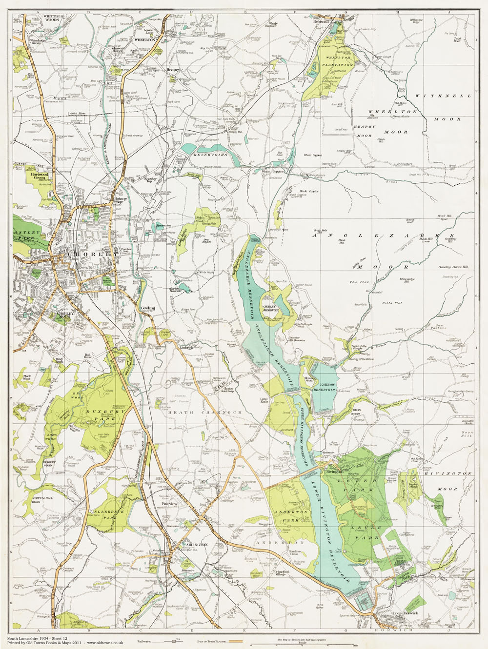 An Old Map Of The Chorley Area Lancashire In 1934 As An Instant