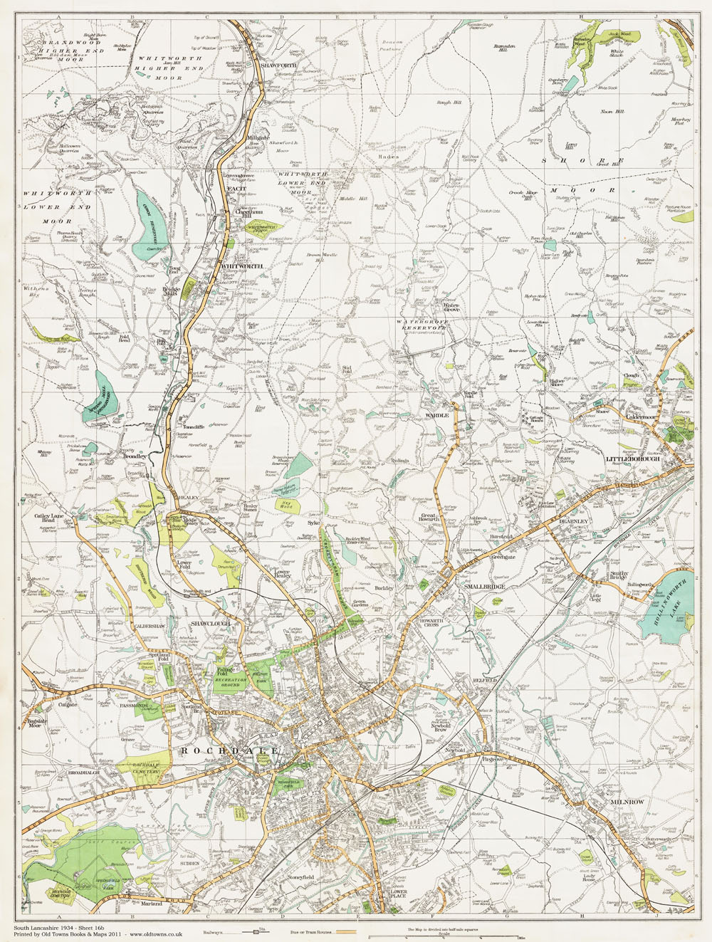 An old map of the Rochdale and Whitworth area Lancashire in 1934 as