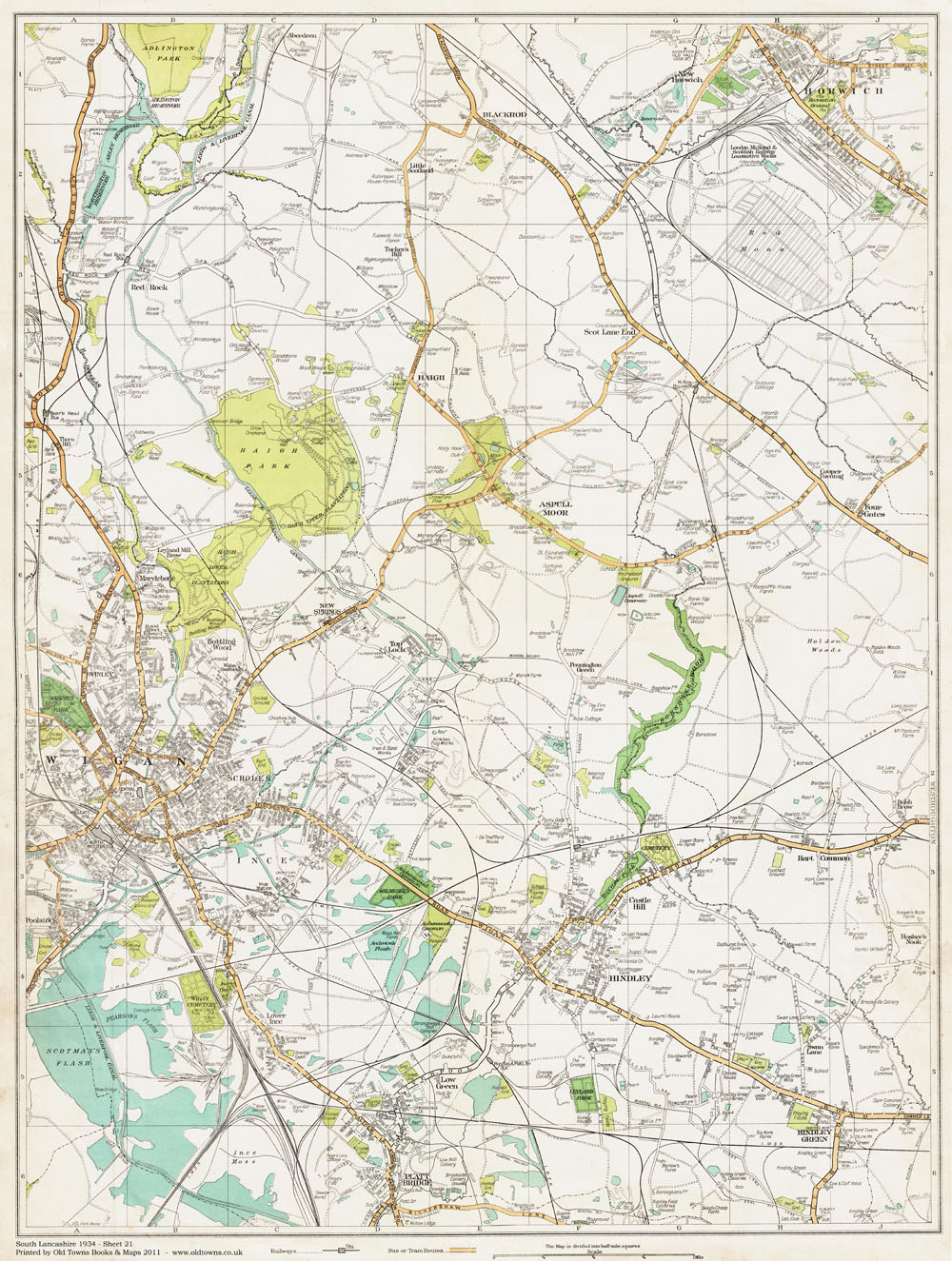 An old map of the Wigan east area Lancashire in 1934 as an