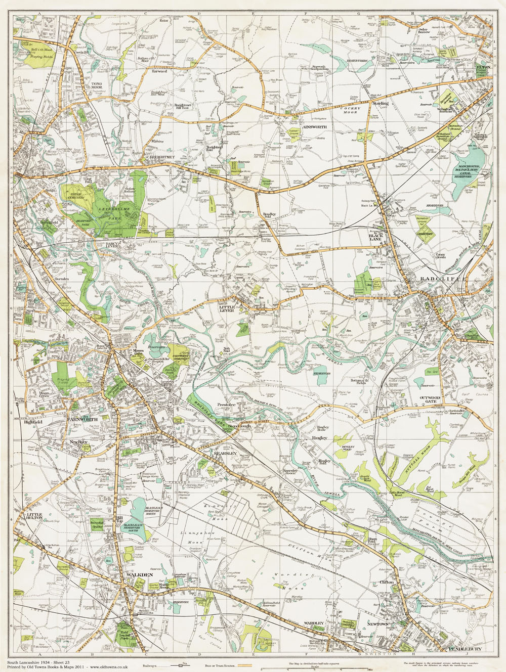 An Old Map Of The Bolton East And Radcliffe Area Lancashire In