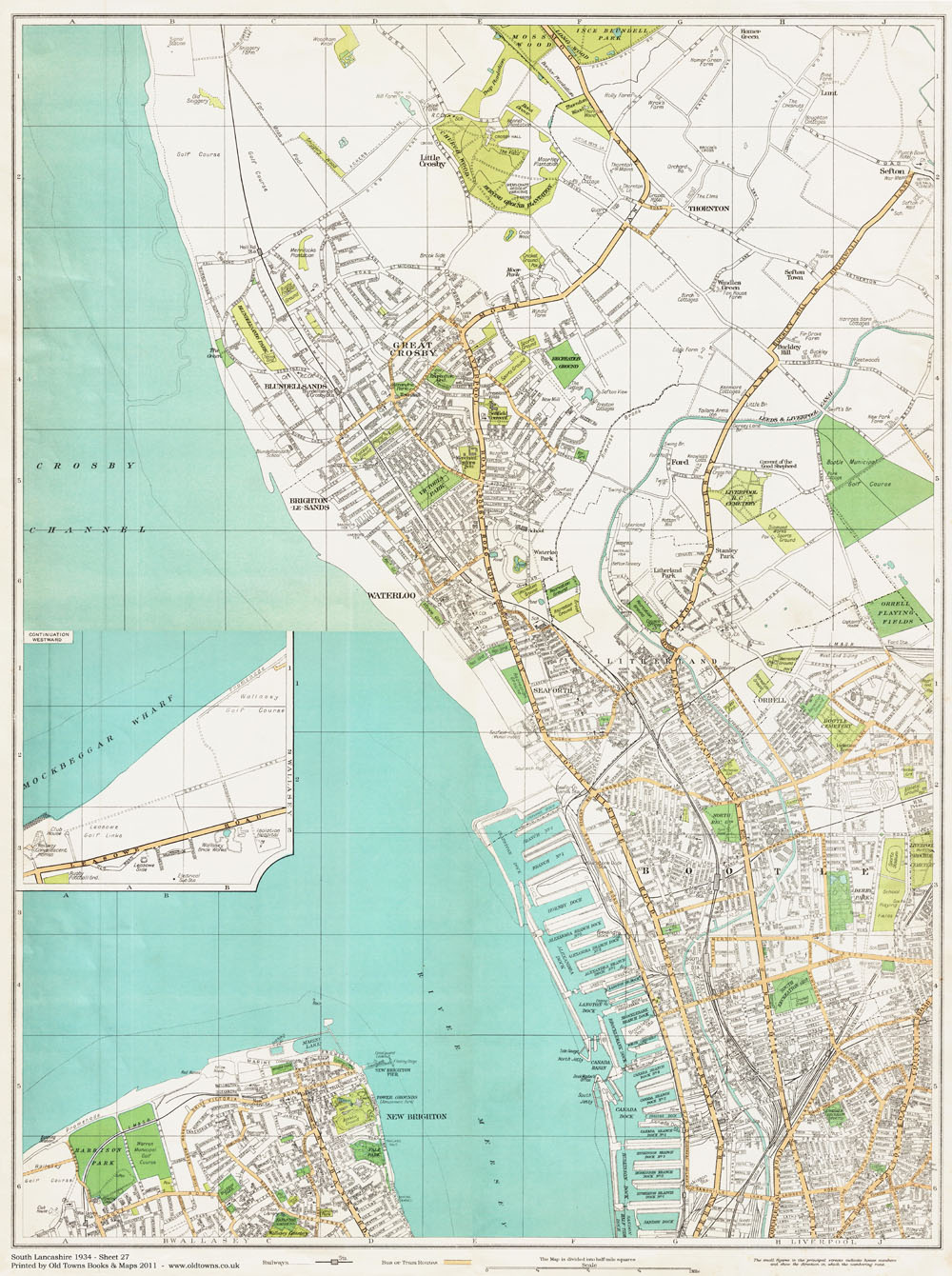 An old map of the Great Crosby and Bootle area Lancashire in 1934