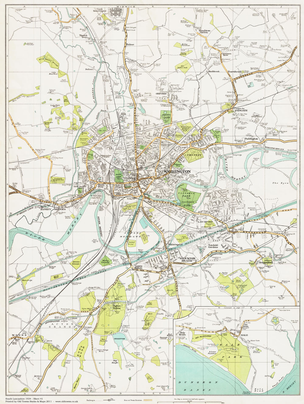An old map of the Warrington area, Lancashire in 1934 as an instant ...
