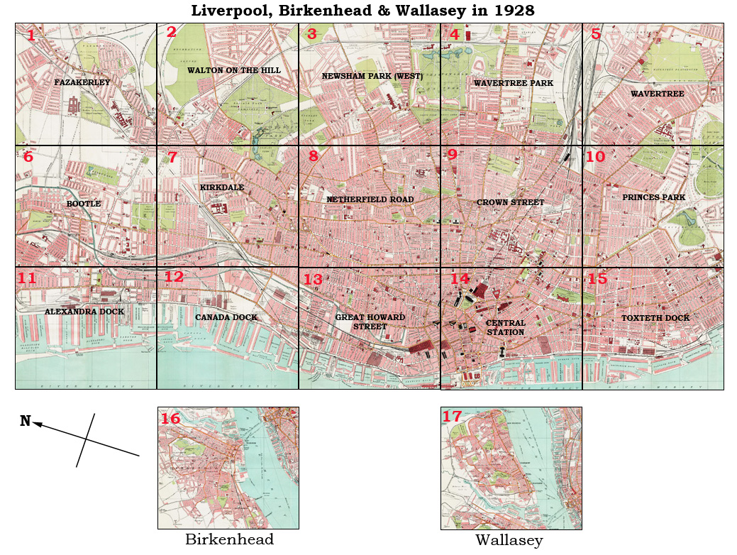 Old maps of Liverpool Birkenhead and Wallasey in 1928 as instant