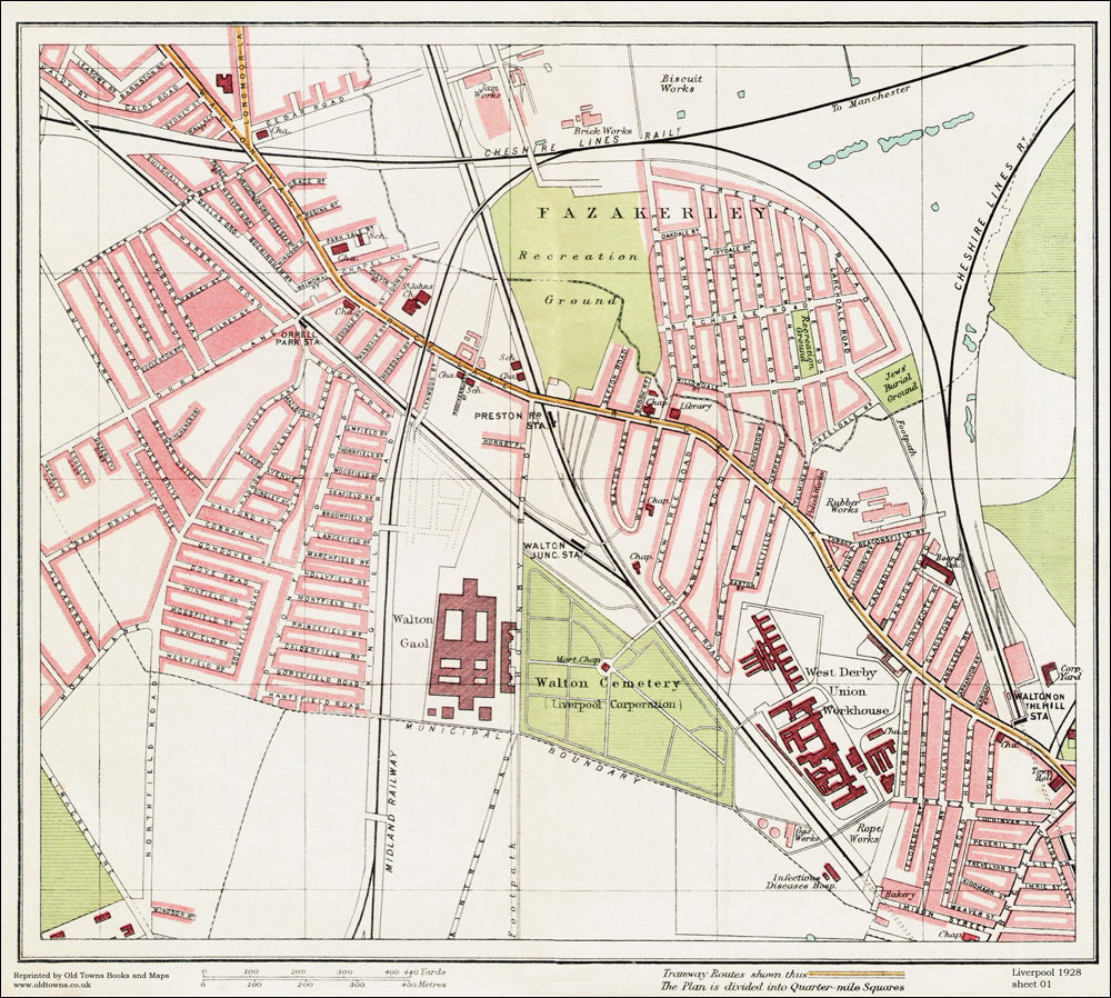 An Old Map Of The Fazakerley And Walton Area Liverpool In As - Old map shop