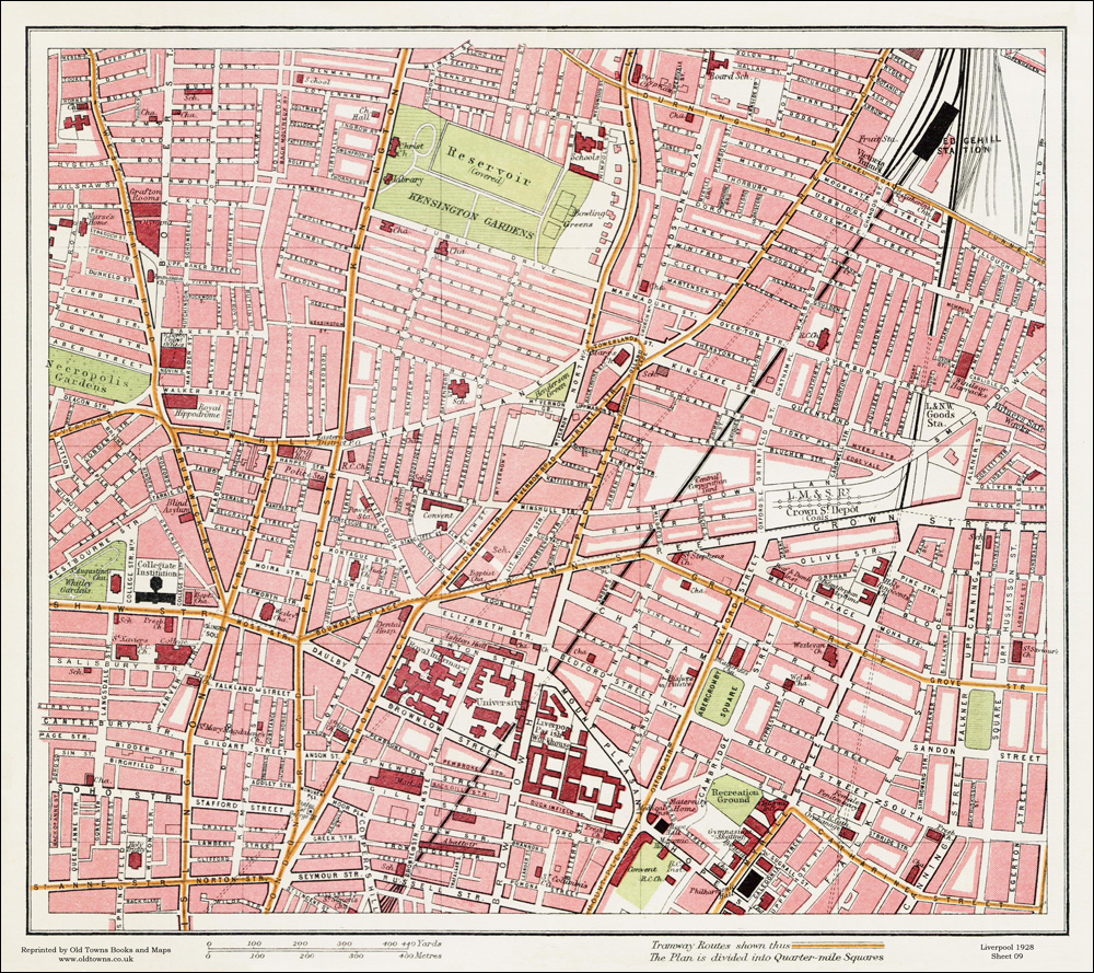 An old map of the crown street area liverpool in 1928 as an instant clean sharp print retaining the colours tones of the original printed area 46 x 41 cm 18 x 16 inches flat sheet map not folded gumiabroncs Choice Image