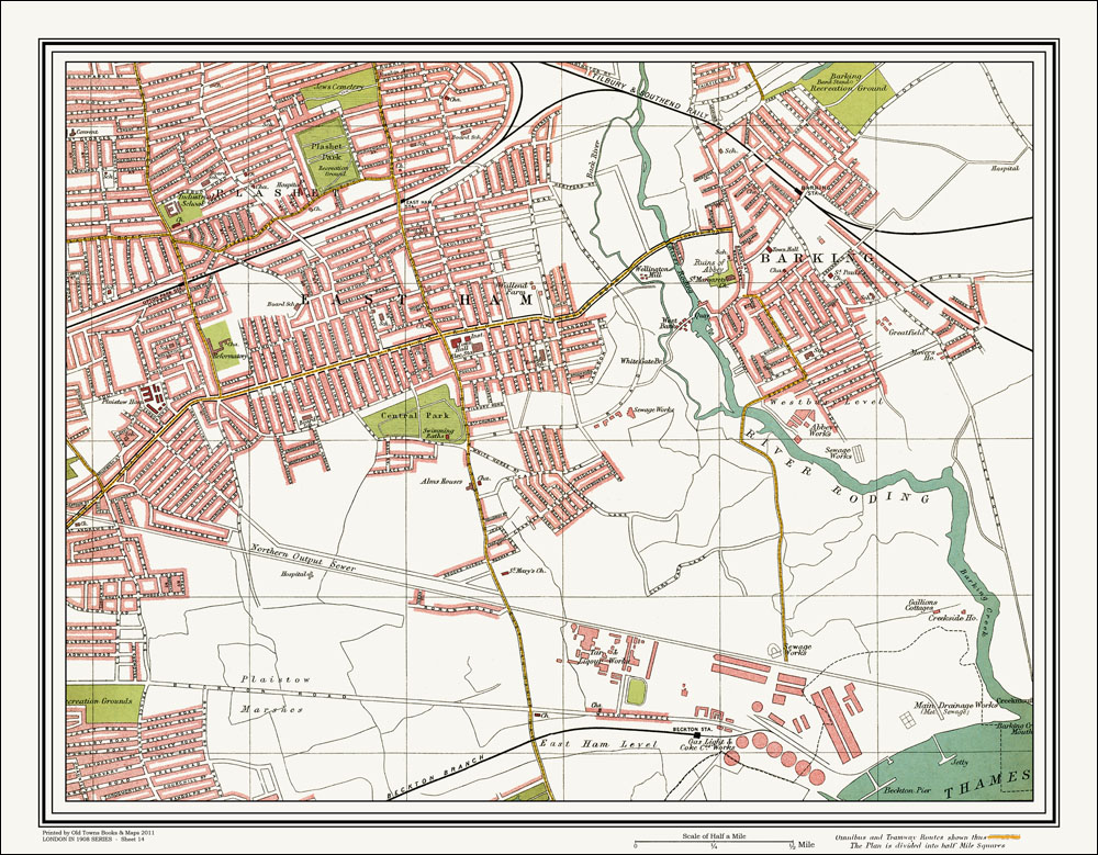 An Old Map Of The East Ham Barking Area London In As An - Old map shop london