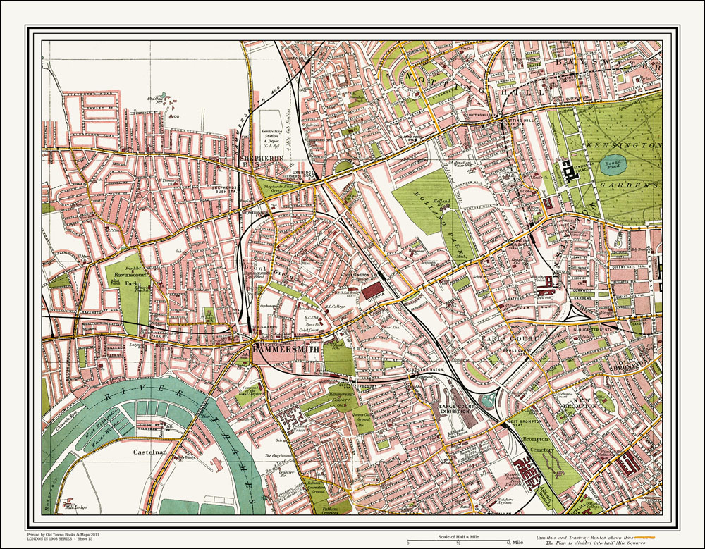 An Old Map Of The Hammersmith Kensington Area London In 1908 As An