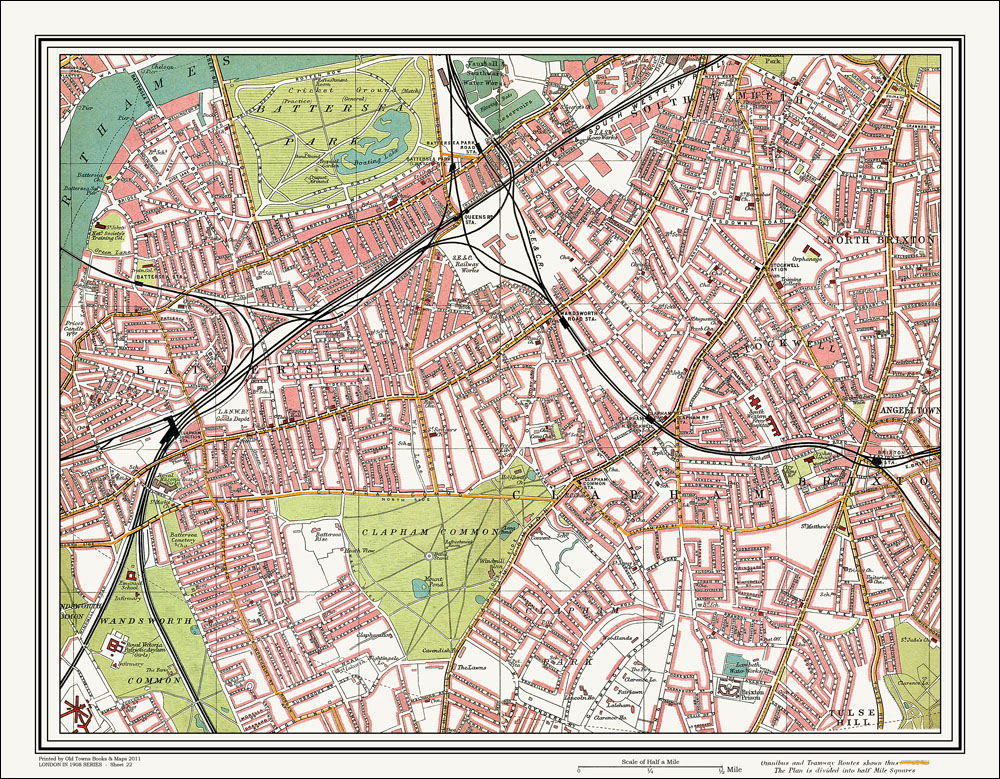 An Old Map Of The Battersea Clapham Area London In As An - Old map shop london