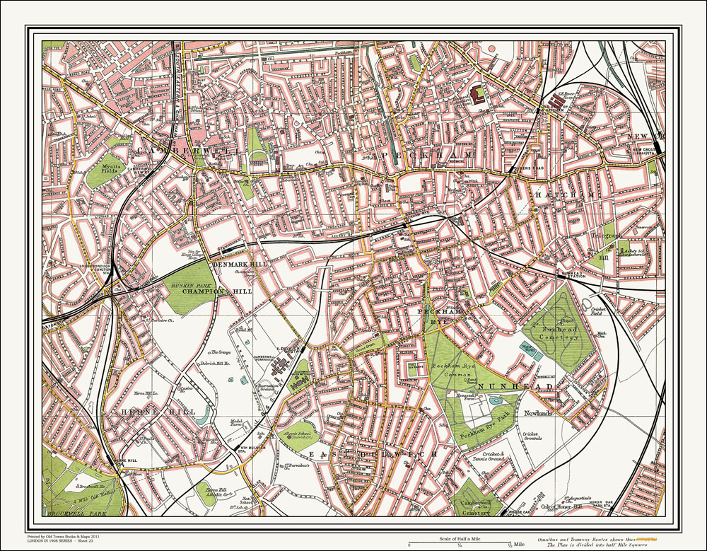 An Old Map Of The Camberwell Peckham Area London In As An - Old map shop london