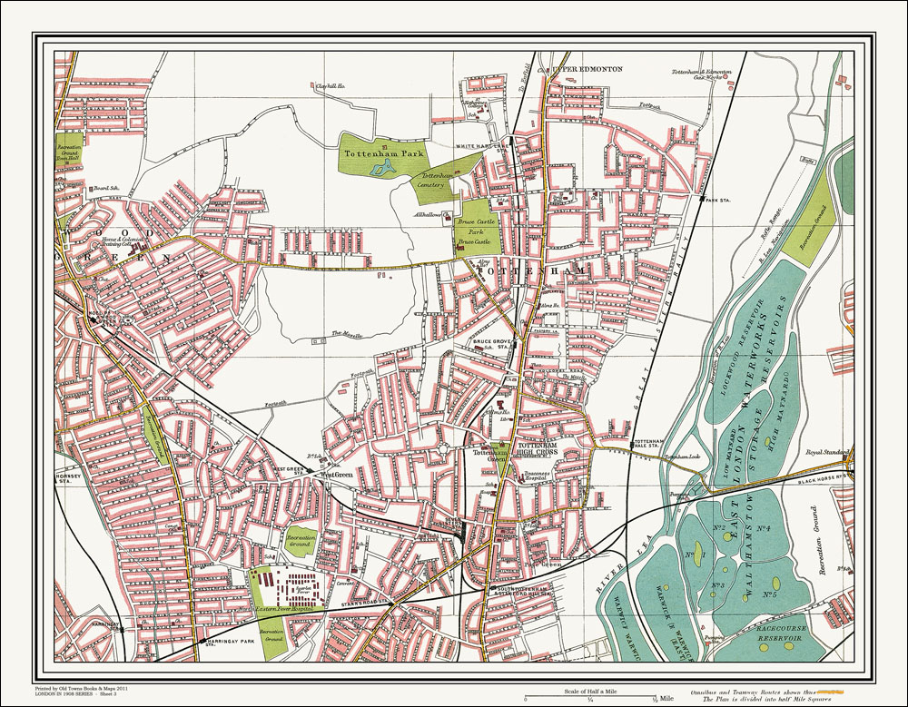 An Old Map Of The Wood Green Tottenham Area London In As An - Old map shop london