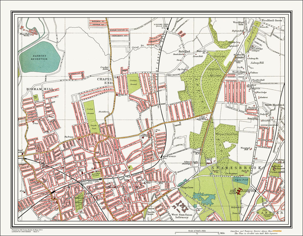 An Old Map Of The Walthamstow Snaresbrook Area London In As - Old map shop london