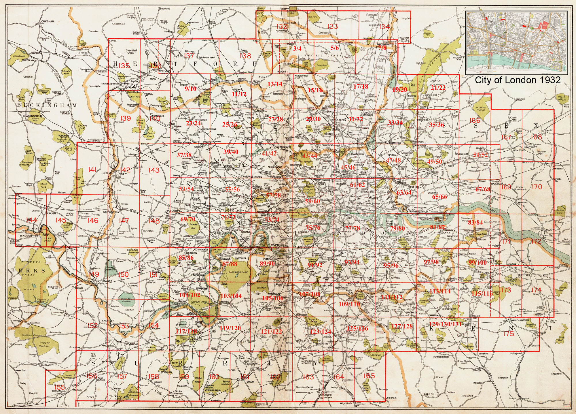 Map Of Greater London Area.Old Maps Of London And Greater London In 1932 As Instant Downloads