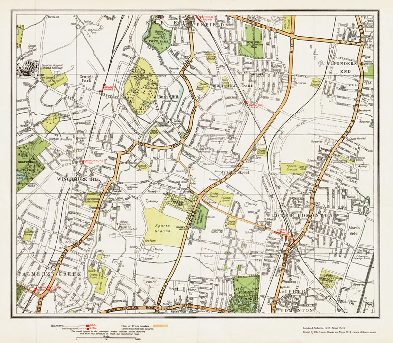 An Old Map Of The Winchmore Hill Lower Edmonton Area London In - Old map shop london