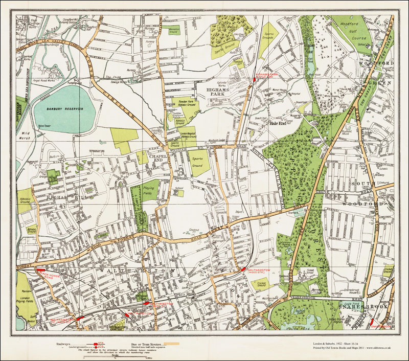 An Old Map Of The Walthamstow Highams Park Area Area London In - Old map shop london