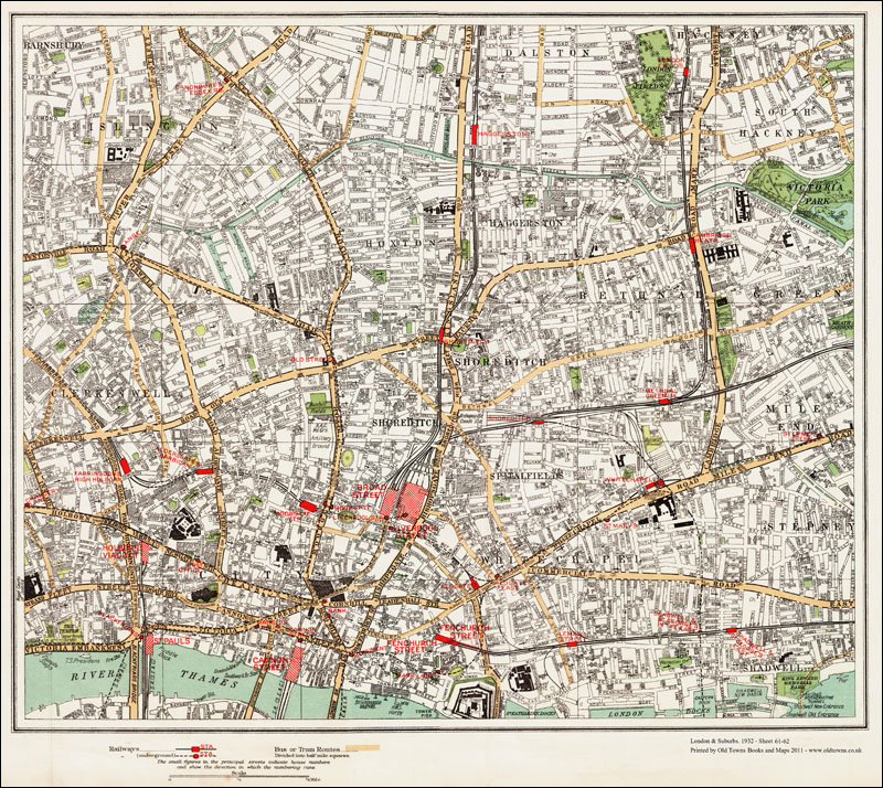 An Old Map Of The Shoreditch Whitechapel Hoxton Area London In - Old map shop london
