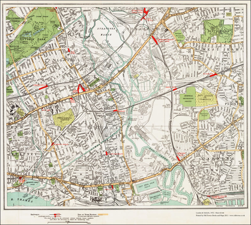 An Old Map Of The Bromley By Bow Canning Town Area London In - Old map shop london