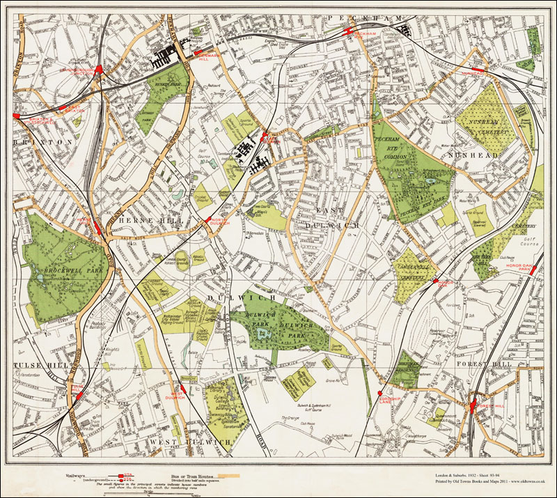 An Old Map Of The Herne Hill Dulwich Nunhead Area London In - Old map shop london