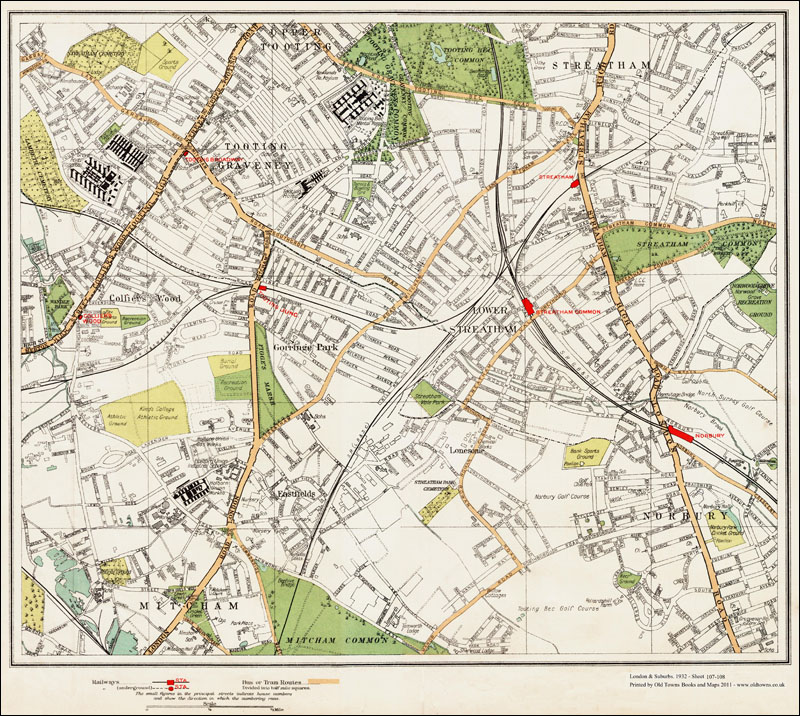 An Old Map Of The Tooting Streatham Norbury Area London In - Old map shop london