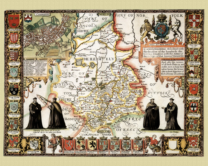 HUNTINGDONSHIRE 1610 by John Speed reproduction old map