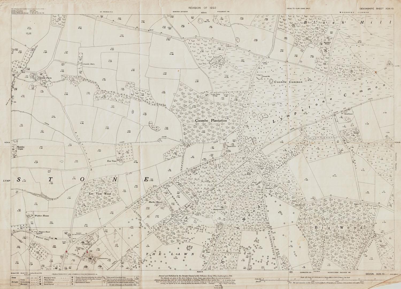 Old Ordnance Survey Map of Lympstone (east), Devon in 1933