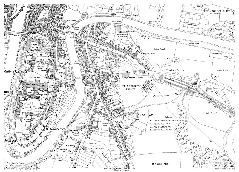durham city prison area 1894 map old maps of durham