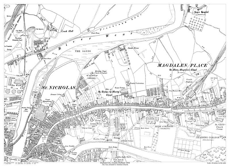 Durham City St Nicholas Area 1894 Map Old Maps Of Durham