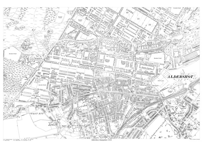 Aldershot 1910 map old maps of Hampshire