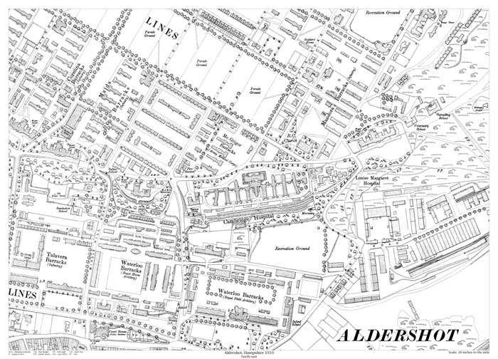 Aldershot northeast 1910 map old maps of Hampshire