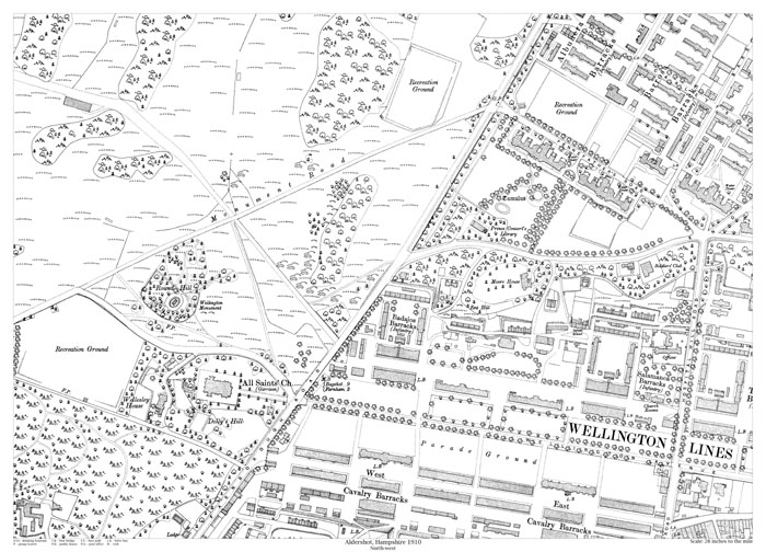 Aldershot Northwest 1910 Map Old Maps Of Hampshire