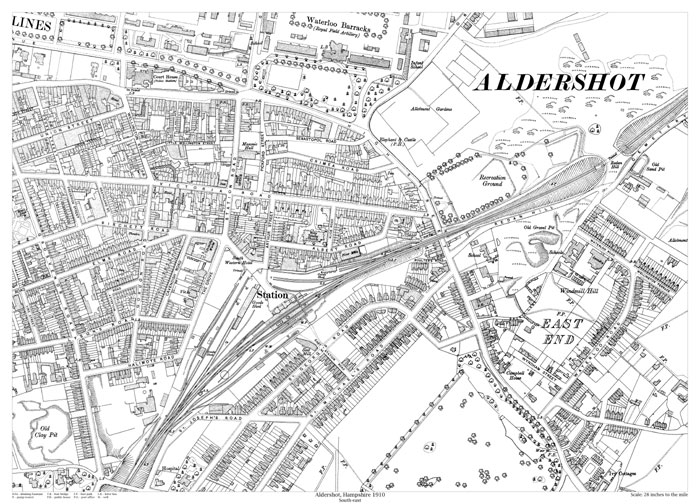Aldershot southeast 1910 map old maps of Hampshire