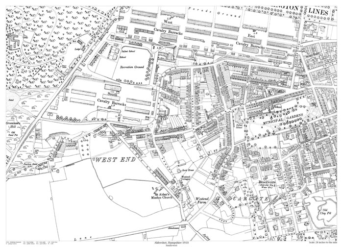 Aldershot southwest 1910 map old maps of Hampshire