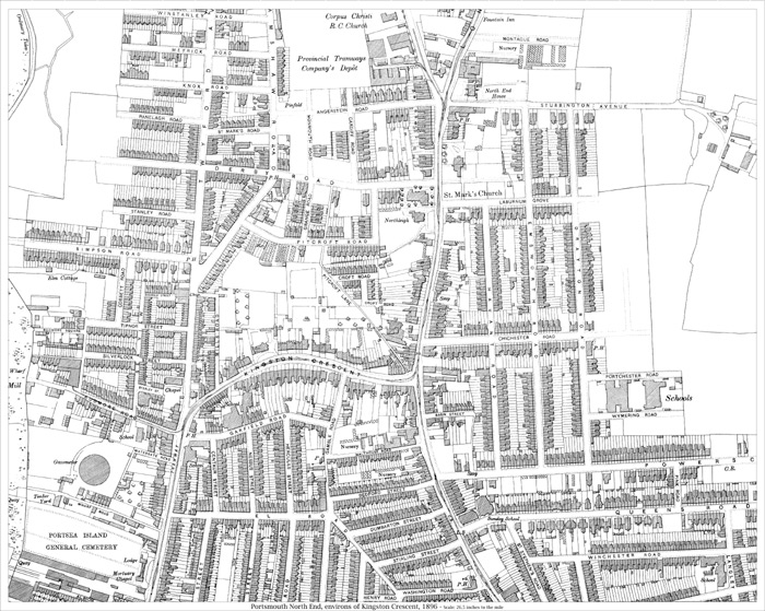 Portsmouth Kingston Crescent area 1896 map  old maps of Hampshire