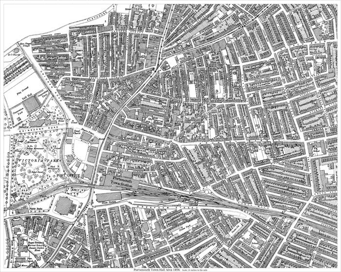 Portsmouth Town Hall area 1896 map  old maps of Hampshire