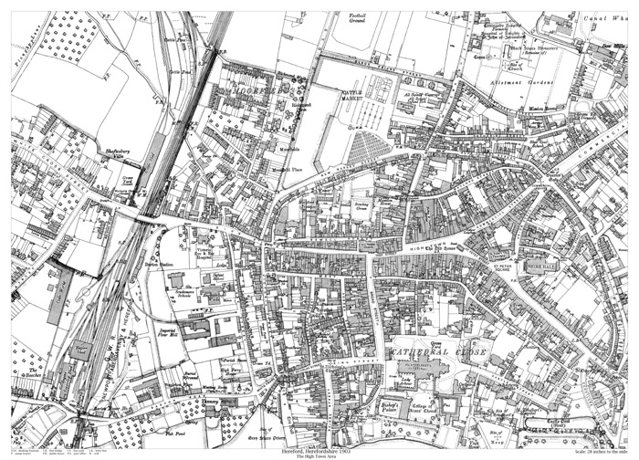 Hereford High Town area 1903 map old maps of Herefordshire