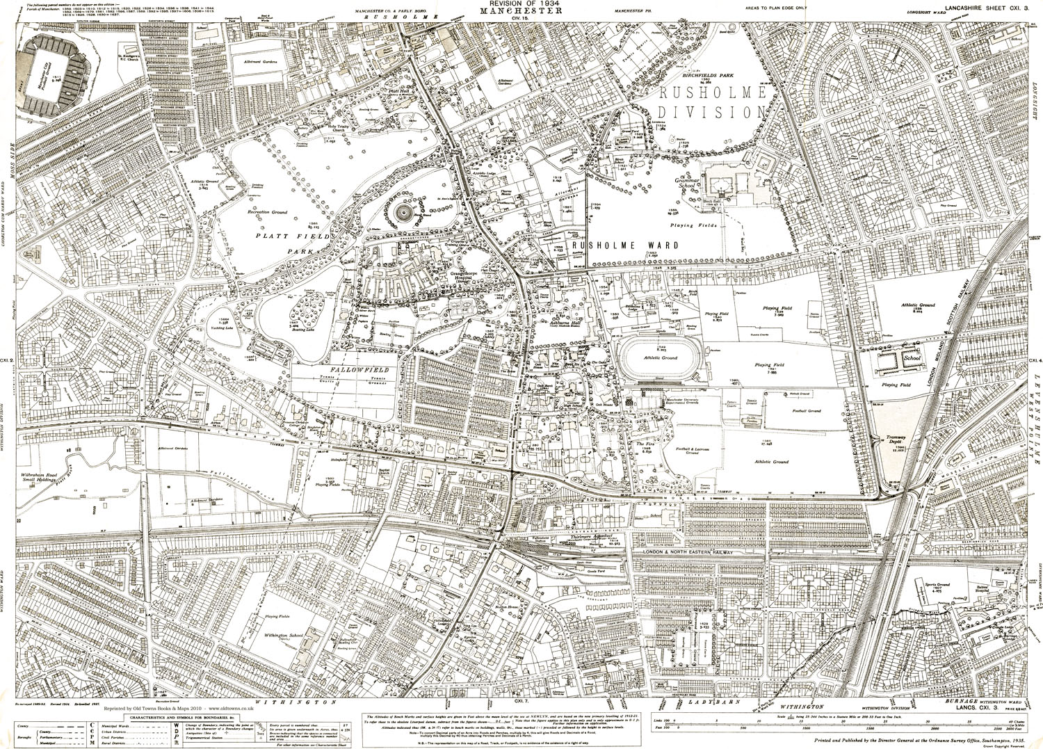 An old map of the Manchester Rusholme area Lancashire in 1934 as