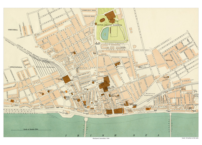 Blackpool map 1900 old map of Lancashire