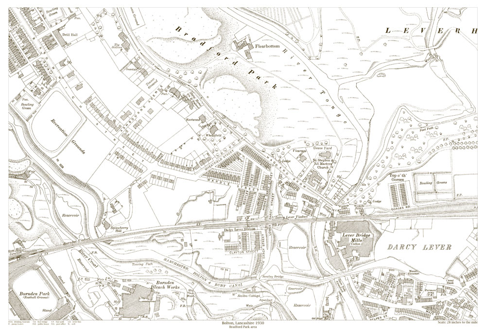An Old Map Of The Bolton Bradford Park Area Lancashire In 1930 As