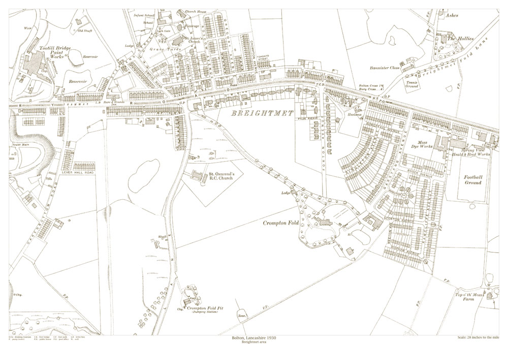 An Old Map Of The Bolton Breightmet Area Lancashire In 1930 As An